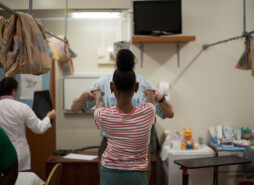 Patient working with healthcare worker